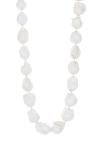 Patricia von Musulin - Silver Hammered Baroque Pearl Strand Necklace
