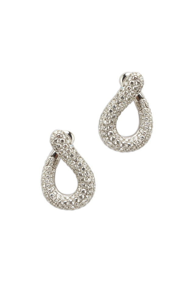 White Gold Pavé-Set Diamond Earrings