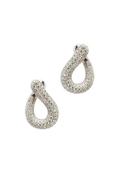 Kathleen Dughi - White Gold Pavé-Set Diamond Earrings