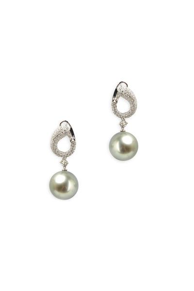 Kathleen Dughi - Silver Pearl Diamond Earrings