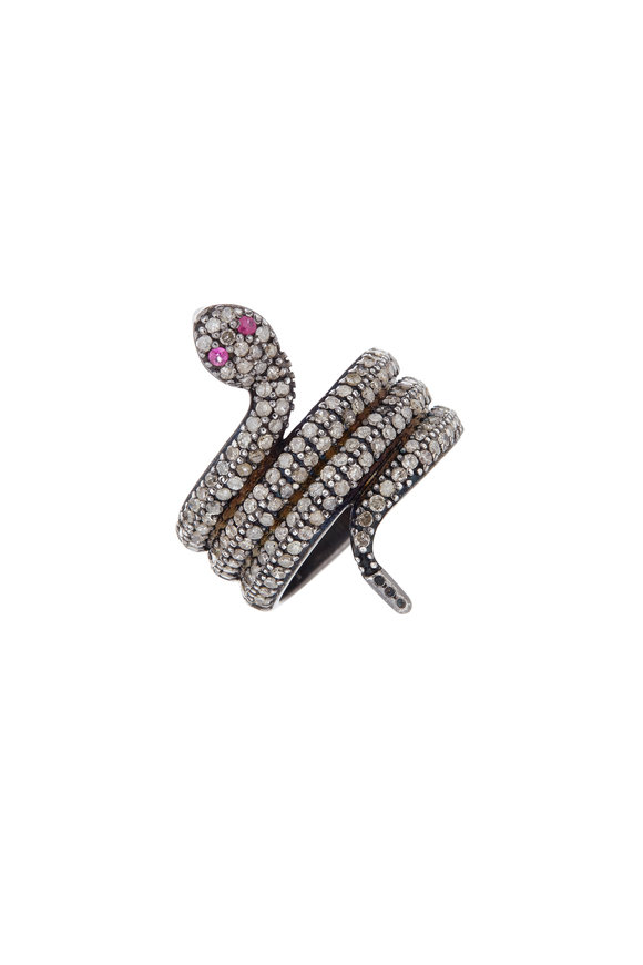 Loriann Sterling Silver Diamond & Ruby Snake Ring