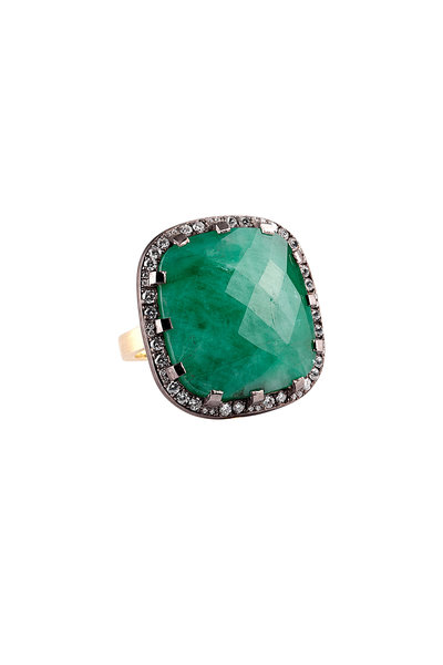 Sylva & Cie - Large Emerald Cocktail Ring