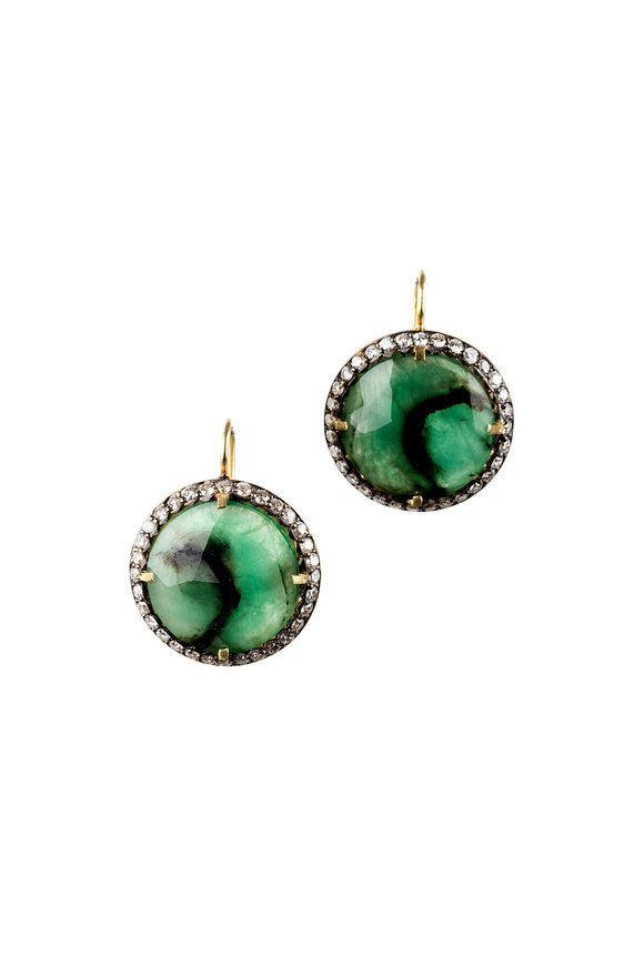 Sylva & Cie Yellow Gold Emerald & Diamond Earrings