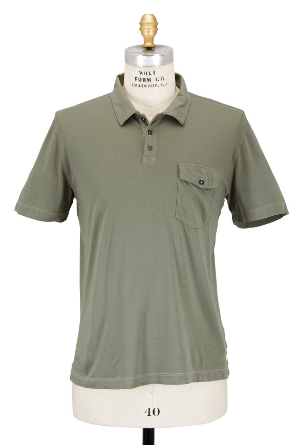 Agave Olive Green Cotton Pocket Polo