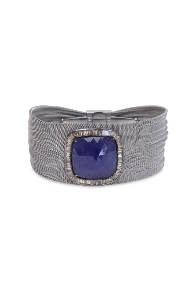 Silver Steel Mesh Tanzanite Diamond Bracelet