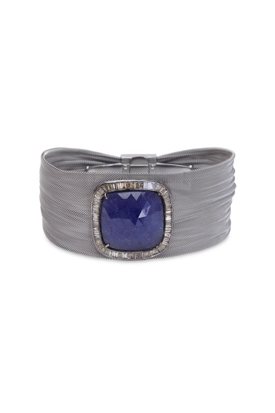 Loren Jewels - Silver Steel Mesh Tanzanite Diamond Bracelet