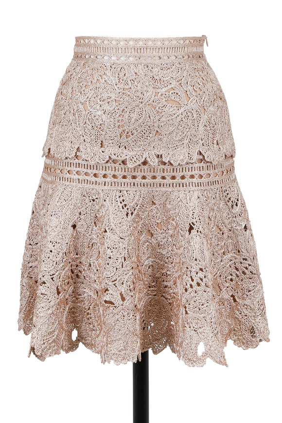 Oscar de la Renta Rose Gold Birds Nest Embellished Lace Skirt
