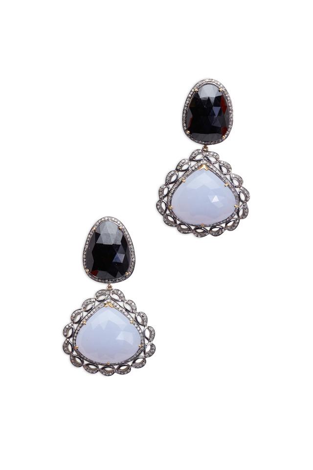 Gold Chalcedony Black Onyx Diamond Drop Earrings