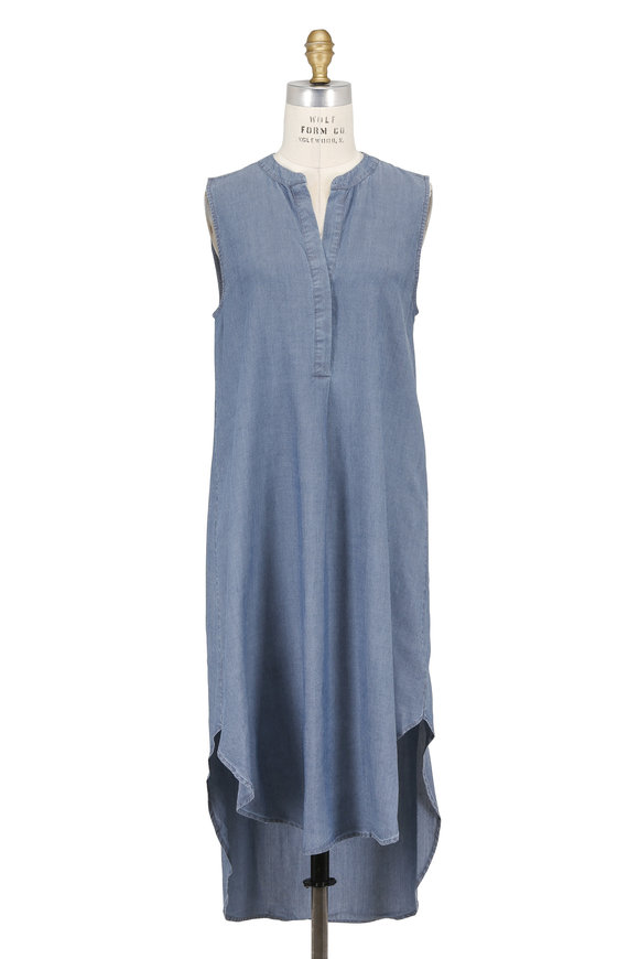 L'Agence Morocco Pacific Blue Sleeveless Shift Dress