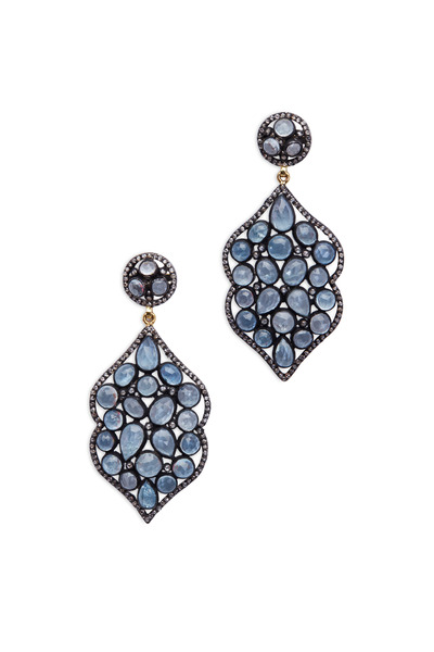 Loren Jewels - Gold & Silver Aqua & Diamond Earrings
