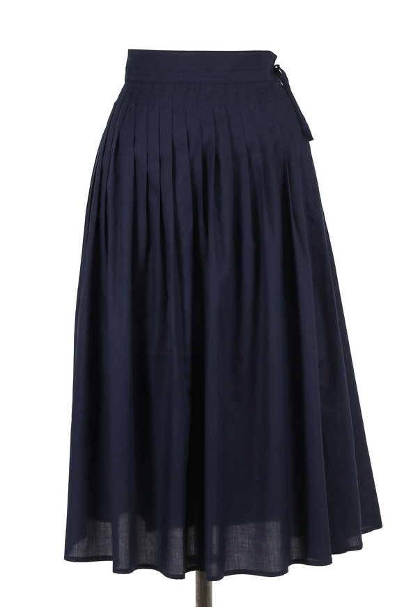 Vince Coastal Blue Stitch-Pleated Wrap Skirt