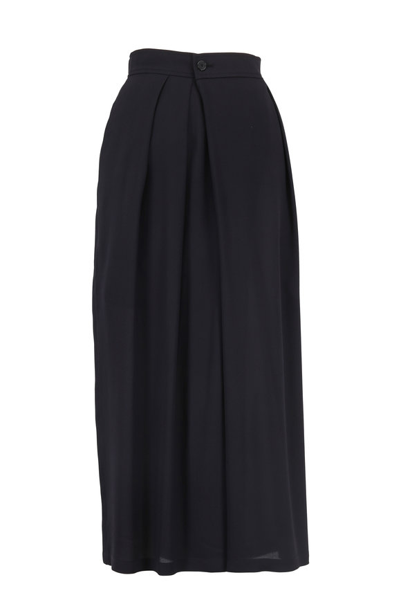 Vince Black Silk Crossover Pull-On Culotte