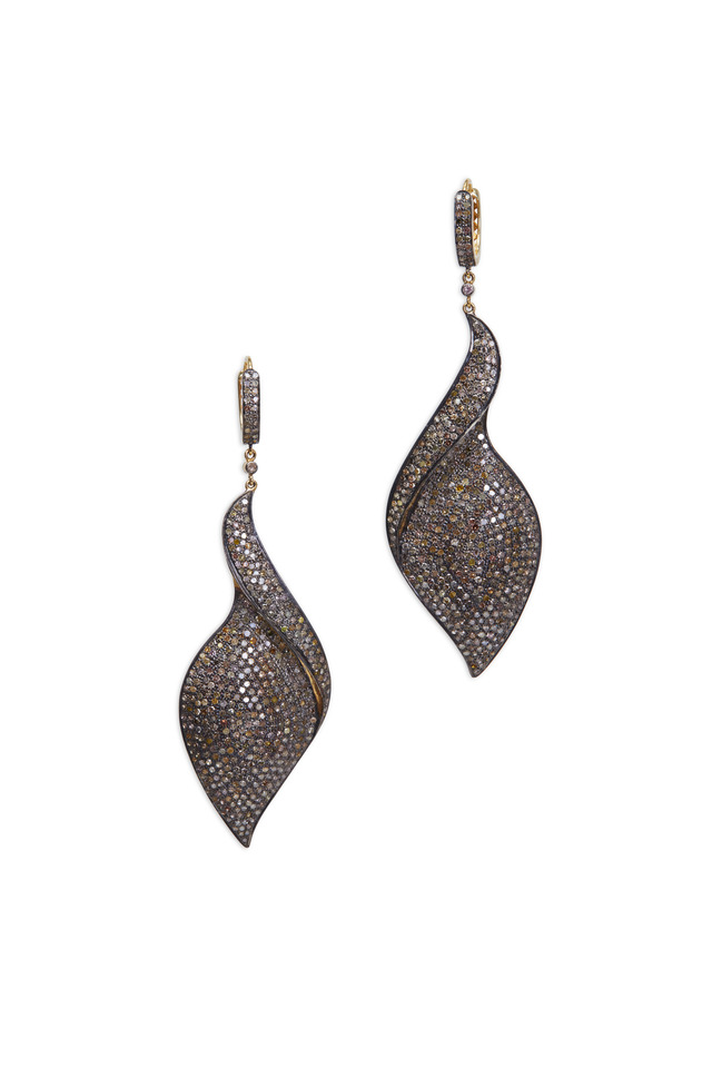 Gold & Silver Pavé-Set Diamond Leaf Swirl Earrings