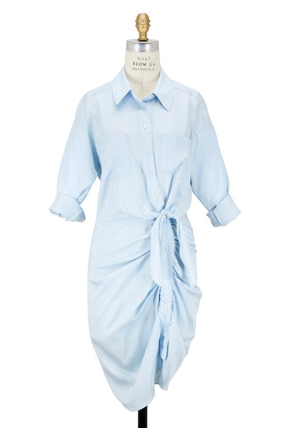 Veronica Beard Sierra Light Blue Ruched Dress