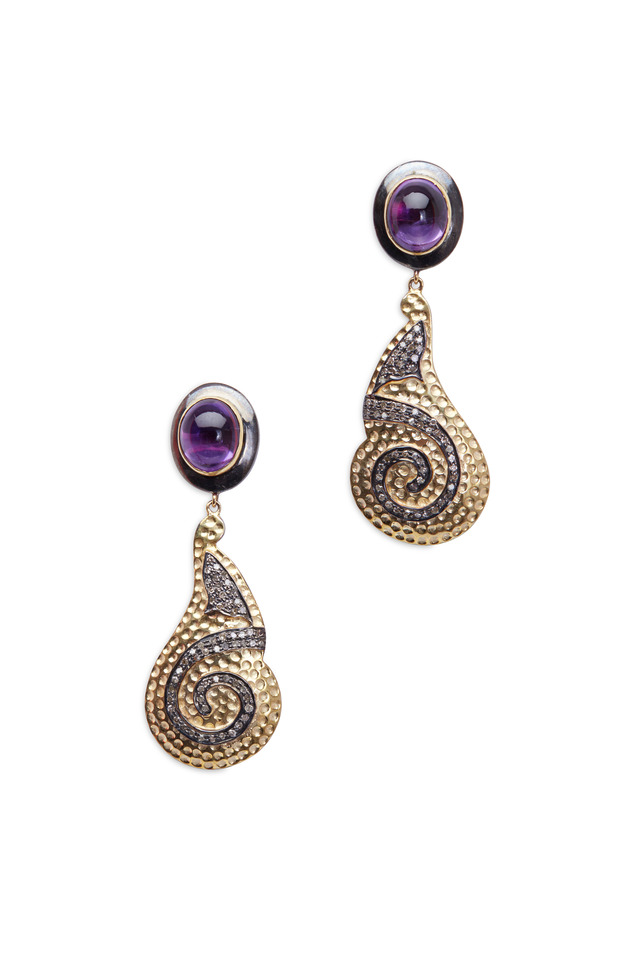 Gold & Silver Amethyst Diamond Swirl Earrings