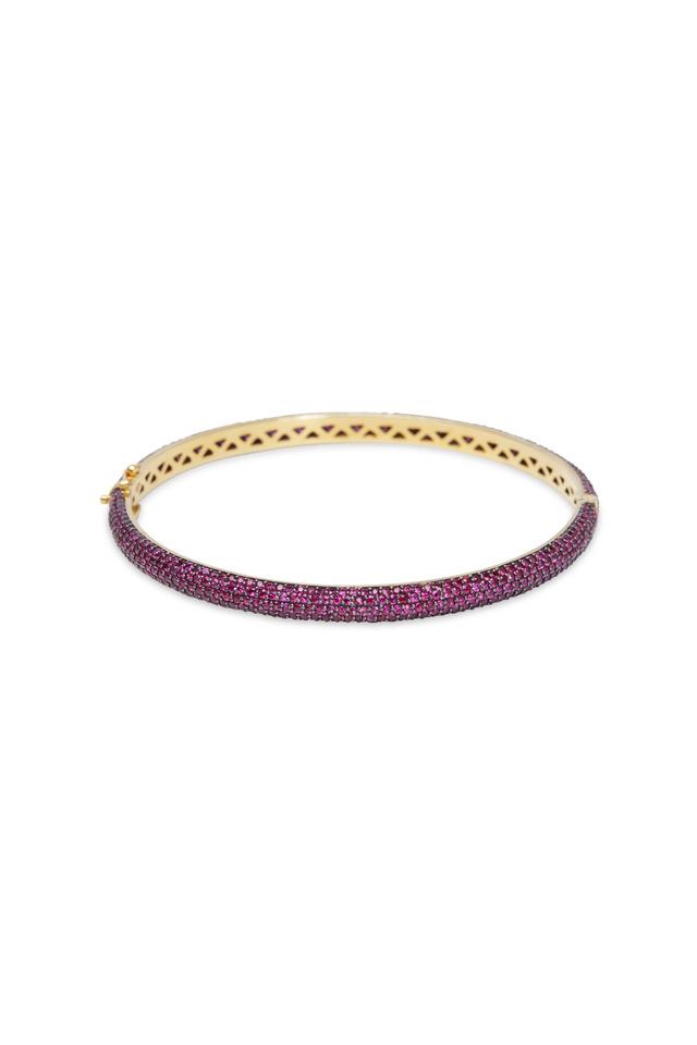 Gold & Silver Pavé Pink Sapphire Bracelet