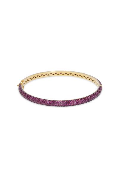 Loren Jewels - Gold & Silver Pavé Pink Sapphire Bracelet