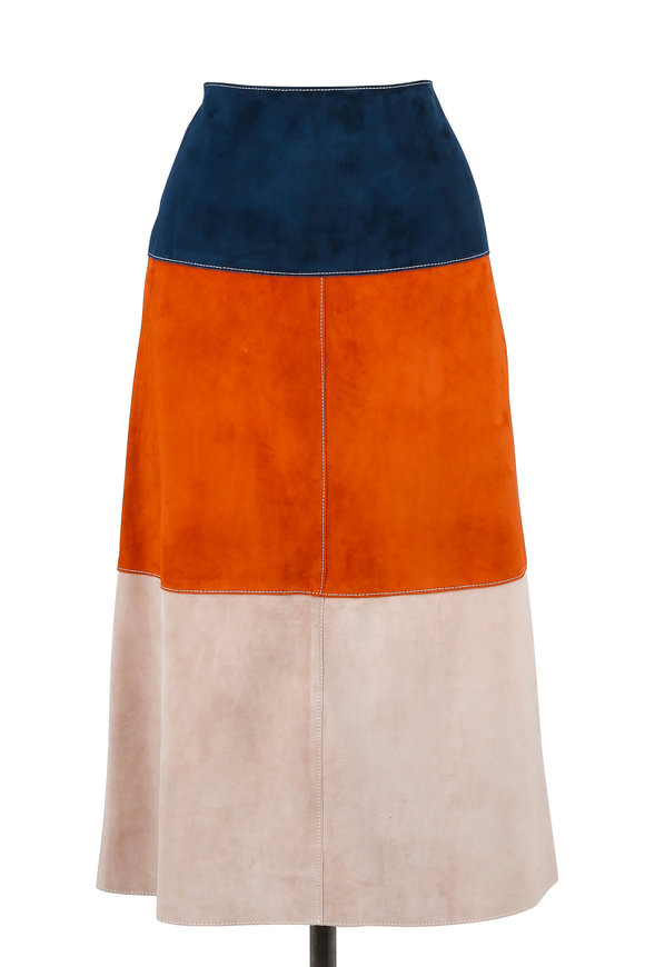Derek Lam Navy Colorblock Suede Midi Skirt