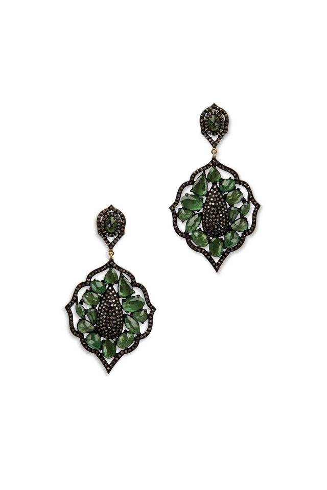 Gold Rhodium Tsavorite Diamond Drop Earrings