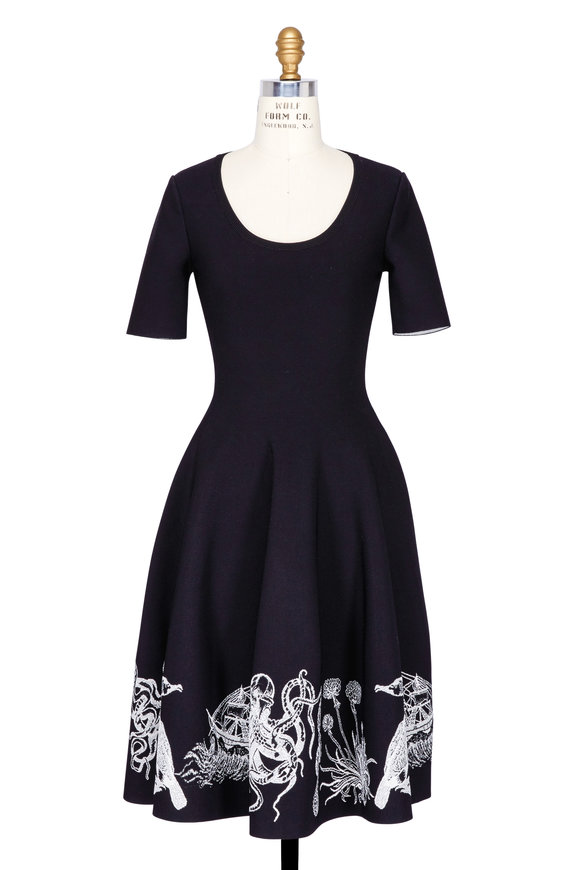 Alexander McQueen Black Embroidered Sea Creature Fit & Flare Dress