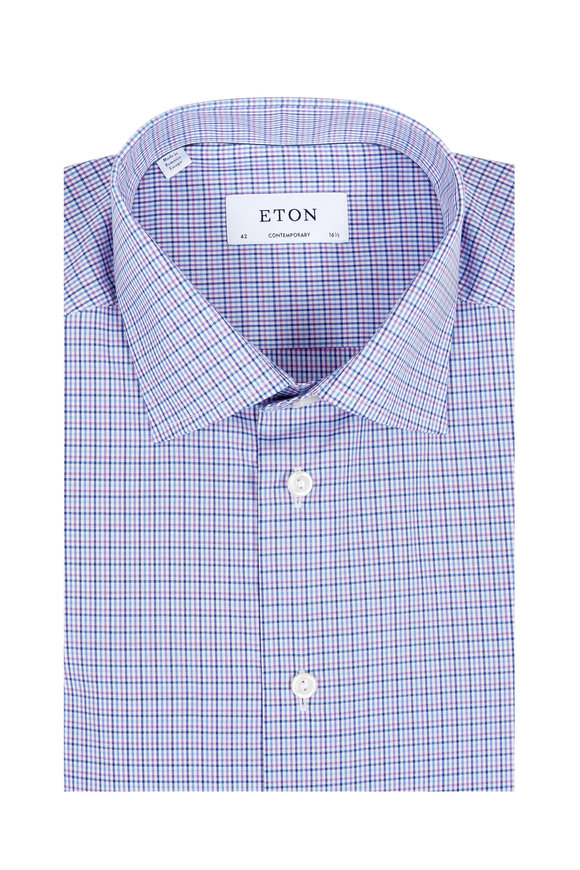 Eton Purple Check Contemporary Fit Dress Shirt