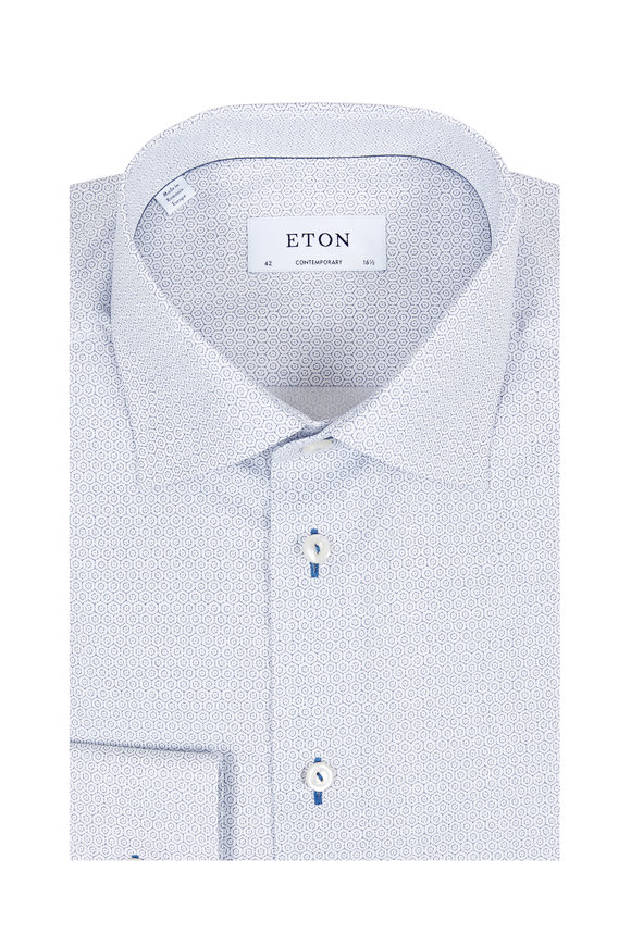 Eton White & Blue Hexagon Contemporary Fit Dress Shirt