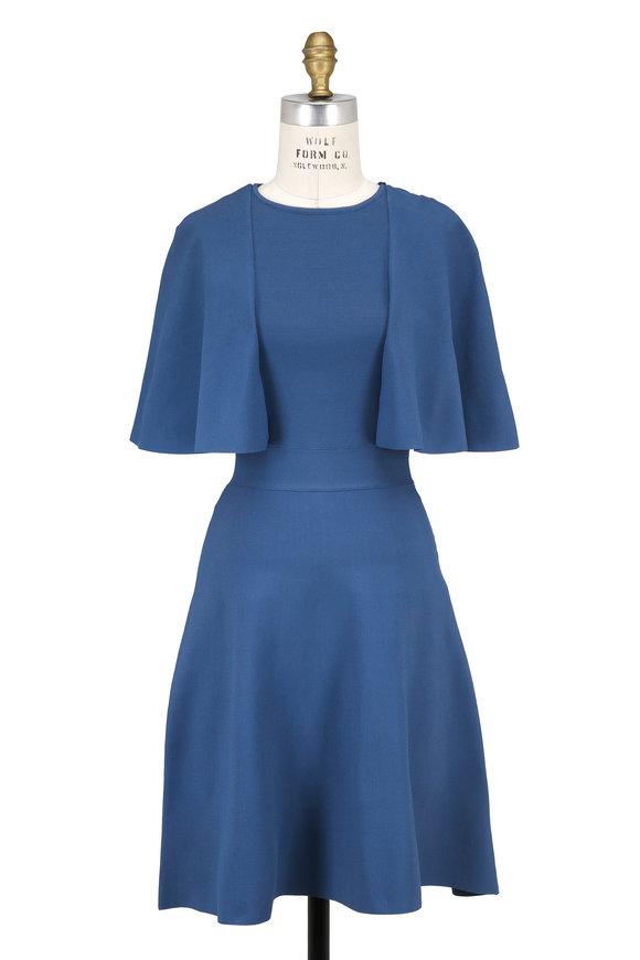 Valentino Blue Knit Lace Back Cape Sleeve Dress