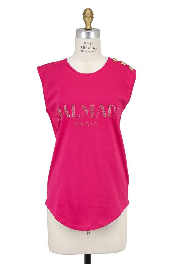 Balmain Fuchsia Studded Logo Cap Sleeve T-Shirt