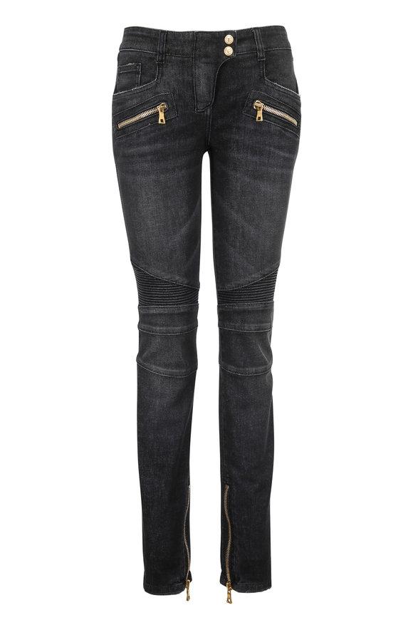 Balmain Washed Black Gold Zip Moto Jean