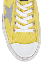 Golden Goose - Womens V-Star Yellow Canvas Low-Top Sneaker