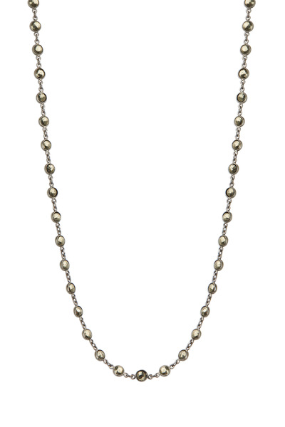 Loriann - Sterling Silver Round Pyrite Chain Necklace