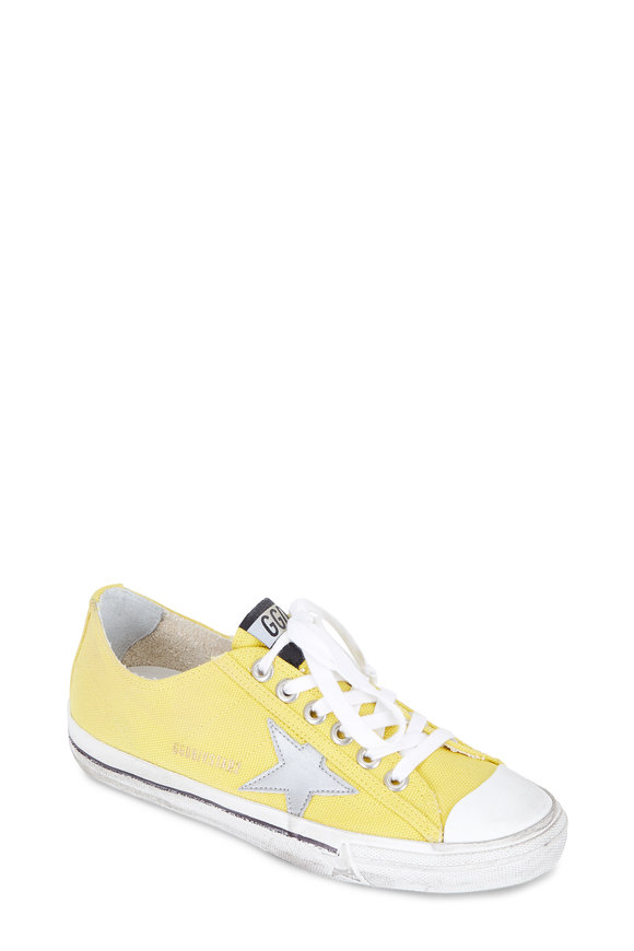 Golden Goose Womens V-Star Yellow Canvas Low-Top Sneaker