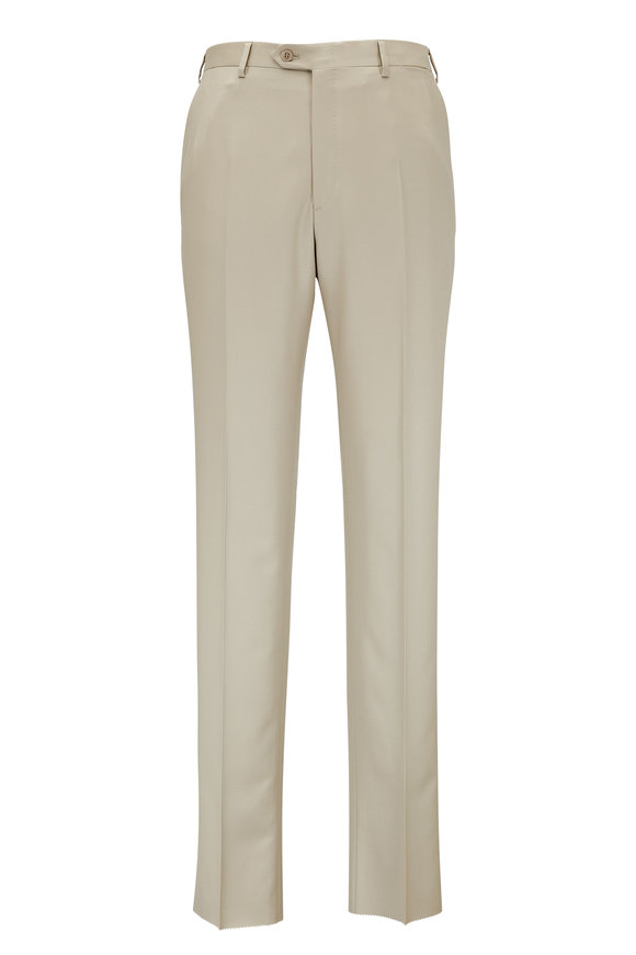 Brioni Tan Wool Flat Front Trouser