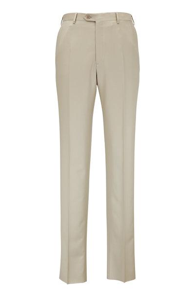 Brioni - Tan Wool Flat Front Trouser