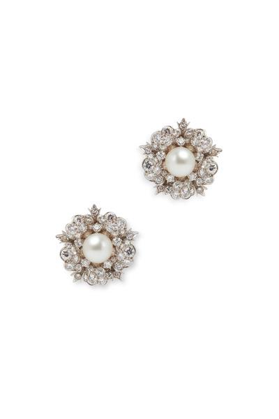 Eclat - Platinum Pearl Diamond Flower Earrings
