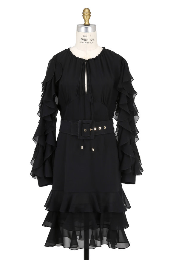 Michael Kors Collection Black Ruffled Silk Georgette Long Sleeve Dress