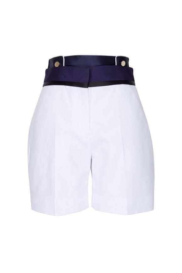 Victoria, Victoria Beckham White & Navy High Waist Button Detail Shorts