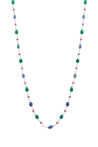 Eclat - Platinum Multi Color Gemstone Diamond Necklace
