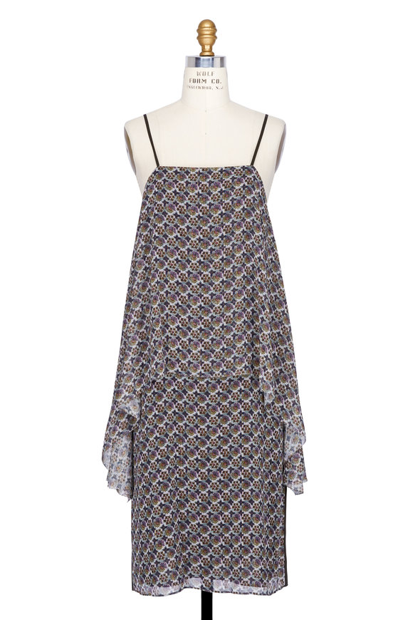 Elizabeth & James Josie Blue & Grey Floral Layered Dress