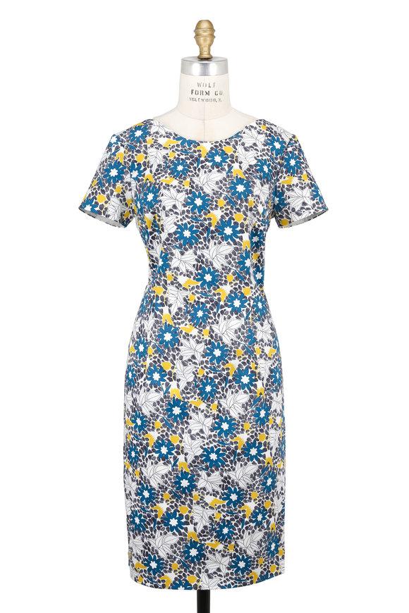 Carolina Herrera White & Teal Daisy Print Short Sleeve Sheath Dress