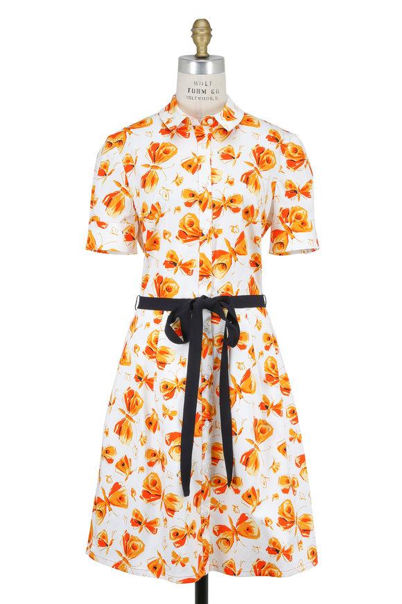 Carolina Herrera White & Orange Butterfly Short Sleeve Shirtdress