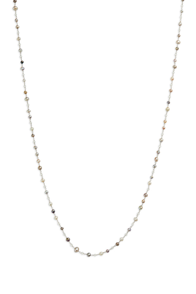 Platinum Pearl & Diamond Bead Necklace