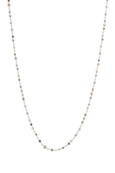 Eclat - Platinum Pearl & Diamond Bead Necklace