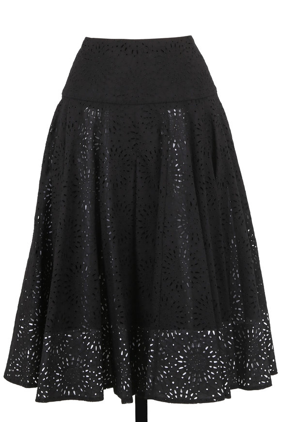 Derek Lam Black Cotton Eyelet Pleated Skirt