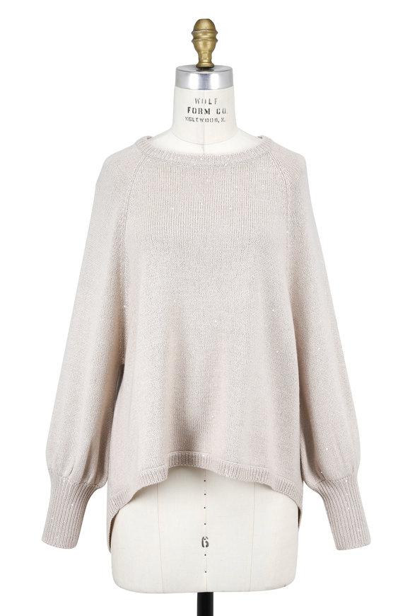 Brunello Cucinelli Sand Cashmere & Silk Paillette Crewneck Sweater
