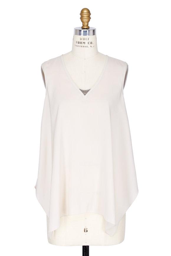 Brunello Cucinelli Latte Silk Handkerchief Hem Sleeveless Top