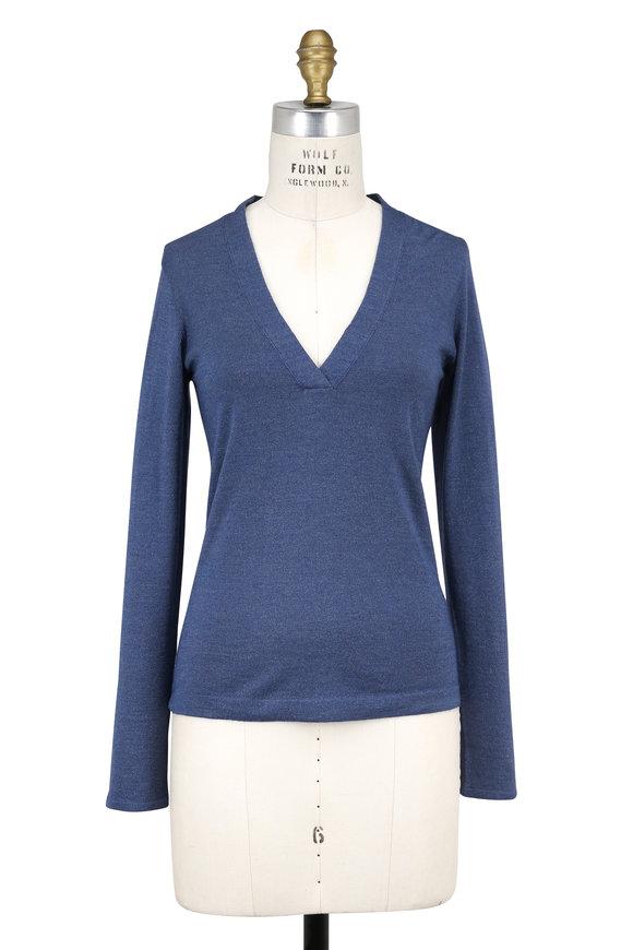 Brunello Cucinelli Oxford Cashmere Lurex Overlapping V-Neck Sweater