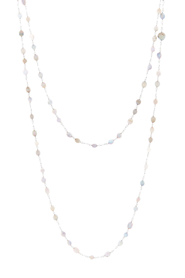 Platinum Natural Pearl & Diamond Bead Necklace