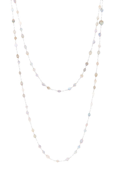 Eclat - Platinum Natural Pearl & Diamond Bead Necklace