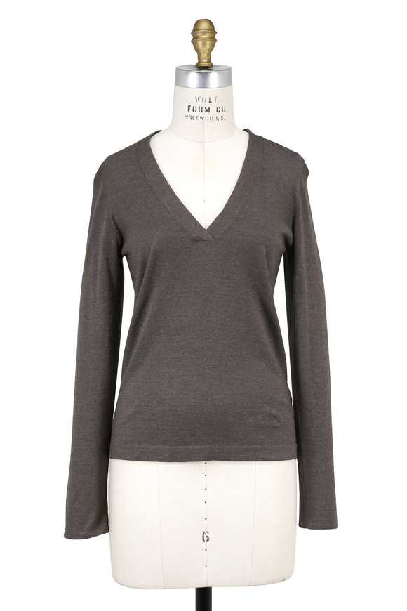 Brunello Cucinelli Military Cashmere Lurex Overlapping V-Neck Sweater